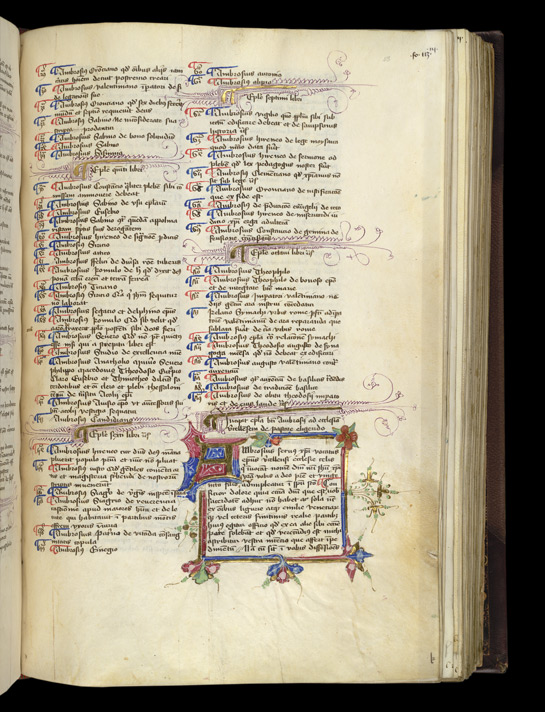 Illuminated Initial, Borders, And Paraphs, In A Volume Of Works By Ambrose, Jerome, And Others